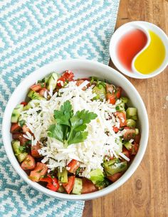 Shopska Salata- Bulgarian Salad with Tomatoes Roasted Peppers Cucumbers Onions Parsley and Sirene Cheese Healthy Salad Recipes, Real Food Recipes, Cooking Recipes, Shopska Salad, Cucumbers And Onions, Bulgarian Recipes, Bulgarian Food, Roasted Peppers, Low Carb Diet