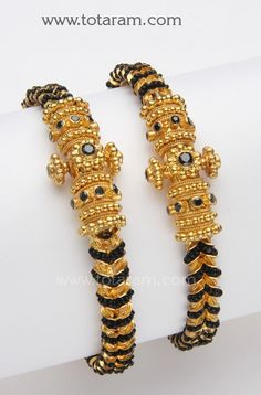 Check out the deal on 22K Gold Kada with Black Beads - 1 Pair at Totaram Jewelers: Buy Indian Gold jewelry & 18K Diamond jewelry