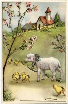 Choose Size Vintage Repro Easter Black Sheep Lamb Bow,Bell Cardstock Decoration