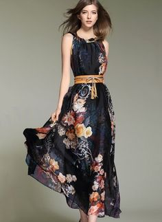 Floryday - Chiffon Floral Sleeveless Maxi Casual Dresses (1955129157)