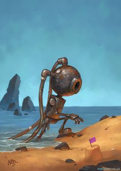 Matt Dixon - Lonely Robots Experiencing The Quiet Wonder Of The World Arte Robot, I Robot, Robots Steampunk, Matt Dixon, Character Art, Character Design, Art Mignon, Robots Characters, Sprites