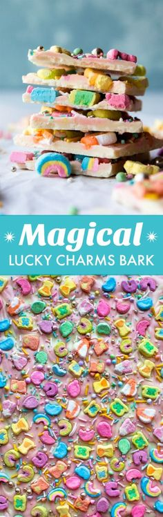 Easy 3 ingredient white chocolate bark with Lucky Charms cereal marshmallows and sprinkles! St Patrick's Day or Easter candy!