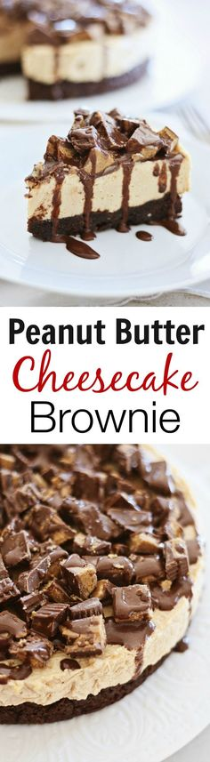 Peanut Butter Cheesecake Brownies - the best and most decadent dessert ever with deep dish peanut butter cheesecake on brownies