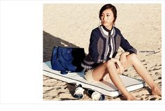 Timeless Navy and Cream love affair -  Tory Burch Leandra dash tweed jacket and Reena blouse (Spring '12 LookBook)
