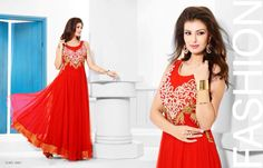 Superbly Designed Party Wear Gown in Netted Fabric with Santoon inner in Red color with beautiful Diamond Hand work done. Best for Parties and Ceremonial Occasions. Party Wear Long Gowns, Evening Party Gowns, Dress Skirt, Dress Up, Net Gowns, Floor Length Gown, Gowns Of Elegance, Anarkali Dress, Designer Gowns