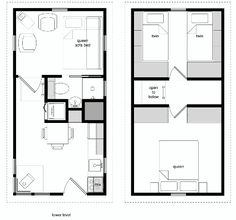 8 by 24 foot tiny house on wheels layout. Perfect for 2 kids and ...