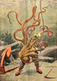 """Absurdonio:    Le Petit Journal, June 1912  """"Un scaphandrier attaqué par une pieuvre"""""""