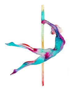 Pole dance art watercolor!