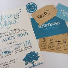 Country-style wedding invitation in nature style and blue lagoon colors and v . Faire Part Nature, Wedding Invatations, Wedding Stationery Inspiration, Country Style Wedding, Perfect Marriage, Wedding Events, Weddings, Brunch, Invitations