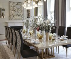 Helen Green Design   An awesome Modern Dining Table and all the beautiful design elements in this dining room.