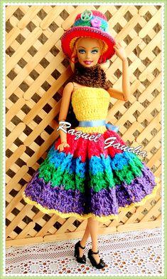 rachelcrochet.wordpress.com #Barbie #Vestido #Dress #Chapéu #Sombrero #Crochet #Muñeca #Doll #RaquelGaucha