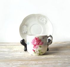 Antique Pink Rose Cup & Saucer Nuremberg by MomsantiquesNthings, $22.00