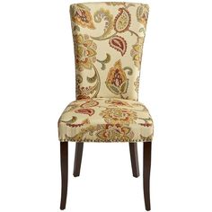 Pier 1 Imports Adelaide Ochre Floral Dining Chair ($180) ❤ liked on Polyvore featuring home, furniture, chairs, dining chairs, nailhead chair, jacobean furniture, floral chair, woven dining chairs and traditional chairs