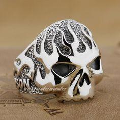 925 Sterling Silver Fire Skull Mens Biker Rocker Punk Ring 8D006C UK Size Z