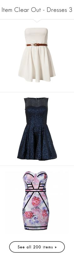 """""""Item Clear Out - Dresses 3"""" by elli-jane-xox ❤ liked on Polyvore featuring dresses, vestidos, dresses/skirts, club l, bandeau dress, club l dresses, sequin cocktail dresses, fit and flare dress, fit flare dress and blue fit and flare dress"""