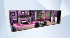 Check out this room in The Sims 4 Gallery! - #NOCC #MOO teengirl #girlbedroom #pinkpurple #loft #shelving #ladder #closet #girly #female #suite #largebedroom #celebrity #sexy #cool #cute #pretty #modern #makeup #vanity #fancy #swanky