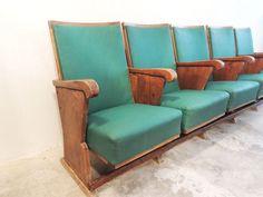 Conjunto de 5 butacas de cine años 30 - The Nave - midcentury - wood - woodwork - madera - furniture - mobiliario - thenave - estilo - silla - decoración - chair - escandinavo - danés - inglés - nórdico - butacas - cine