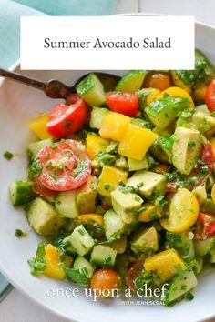 Summer Avocado Salad Easy Salad Recipes, Appetizer Recipes, Whole Food Recipes, Avocado Recipes, Healthy Recipes, Vegetarian Recipes, Avocado Salad Recipes, Chef Recipes, Healthy Baking