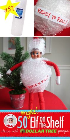 Elf is READY to ROLL in his bubble wrap suite! 55+ NEW ideas with Dollar Tree props!! We've expanded our popular post with even MORE ideas!! #elfontheshelf #ideas #easy #quick #funny
