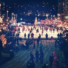 ice skating rink. Plaza Arlington, VA, USA.