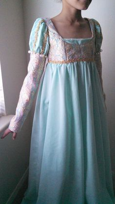 Gold and Blue Medieval Girl's Gown by LadyDoveCostumes on Etsy Medieval Girl, Gowns For Girls, Celtic Wedding, Fantasy Dress, Celtic Designs, Costume Ideas, Cold Shoulder Dress, Middle Ages, Blue