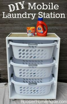 DIY Mobile Laundry Station ~ I could see several of these in a laundry room.  One for dirty laundry and one for clean.
