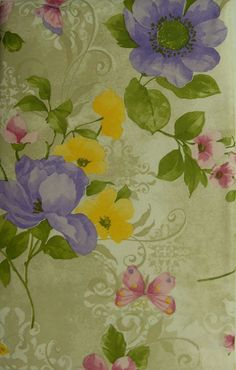 Marvelous 52X70 BUTTERFLY FLORAL Vinyl / Flannel Backed Multi Color OBLONG Tablecloth  NEW