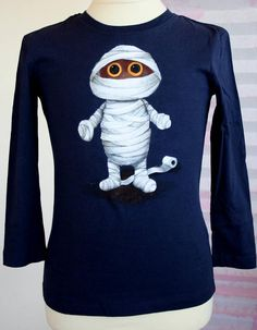 Hand Painted Halloween T Shirt Mummy T Shirt Funny Halloween Tees Personalized Boys Gift Custom Scary Kids Tee Unique One Of A Kind Tee - Halloween Makeup Halloween Quotes, Funny Halloween, Halloween Shirt, Scary Kids, H&m Brand, October Birthday, My T Shirt, Gifts For Boys, Tshirt Colors