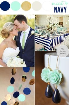 Top 5 Early Summer Navy Blue Wedding Ideas---naby blue and mint, wedding earrings, stripped wedding table linen, wedding tie, diy wedding decorations Mint Wedding Decor, Nautical Wedding, Wedding Themes, Blue Wedding, Trendy Wedding, Dream Wedding, Wedding Decorations, Orange Weddings, Stage Decorations
