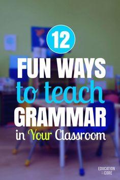 Teaching grammar - 12 Fun Ways to Teach Grammar in Your Classroom – Teaching grammar Grammar Activities, Teaching Grammar, Teaching Language Arts, Grammar Lessons, Teaching Writing, Teaching English, Teaching Spanish, Writing Lessons, English Grammar Games