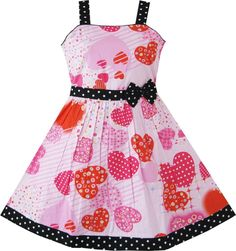 Girls Pink Heart Print Bow Tie Party Dress Kids Clothes 4 5 6 6X 7 8 9 10 11 12 #SunnyFashion #Everyday