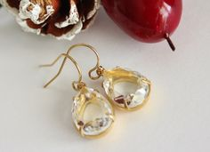 Crystal Teardrop Earrings. Dangle. Gold by JennyMoralesJewelry