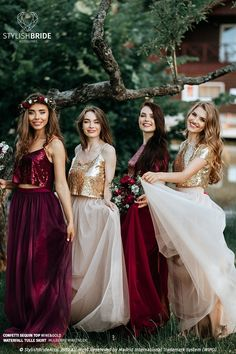 """Wine and Gold Palette Bridesmaid Separates: Wine/Mulberry Waterfall Bridesmaids Tulle Skirts with """"Confetti"""" Wine/Gold Sequin Tops by StylishBrideAccs on Etsy Gold Sequin Top, Sequin Crop Top, Gold Sequins, Gold Top, Sequin Skirt, Tulle Skirt Bridesmaid, Bridesmaids, 2 Piece Bridesmaid Dress, Tulle Wedding"""