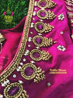 Wedding Saree Blouse Designs, Pattu Saree Blouse Designs, Designer Blouse Patterns, Fancy Blouse Designs, Zardosi Work Design, Maggam Work Designs, Hand Work Blouse Design, Stylish Blouse Design, Aari Embroidery
