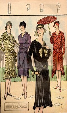 Drop waist was seen in almost every silhouette. Fancy or Causal. 20s Fashion, Art Deco Fashion, Fashion Photo, Vintage Fashion, Fashion Illustration Vintage, Fashion Illustrations, Jean Délavé, Moda Vintage, Roaring 20s