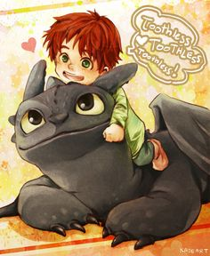 Drawn by Kadeart0 ...  How to train your dragon, toothless, hiccup's son, night fury, dragon, viking
