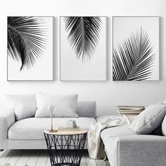 $5.12 - Black White Plant Coconut Leaves Canvas Poster Art Print Wall Painting Decor #ebay #Collectibles