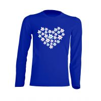 Camiseta Manga Larga Corazón Flores Azul Royal