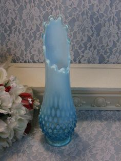 Vintage Fenton Art Glass Blue Opalescent Hobnail by havetohaveit, $124.99
