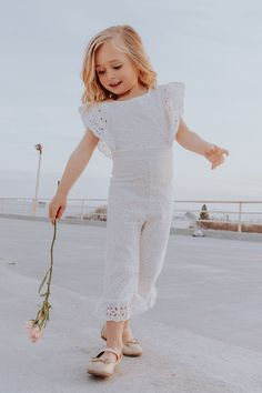 little girl eyelet white romper. mini jumpsuit by ivy city co. Black Kids Fashion, Kids Fashion Boy, Little Girl Fashion, Little Girl Dresses, Flower Girl Dresses, Girls Dresses, Jumpsuits For Girls, Girls Rompers, Kids Outfits