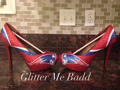 New England inspired glitter High heel in red made by Glitter Me Badd #patriots #newengland