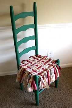 Fun idea for an old chair whose seat is breaking apart