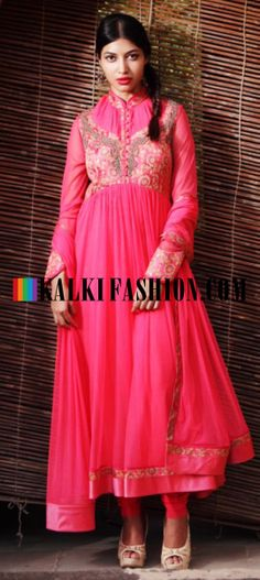 Buy Online from the link below. We ship worldwide (Free Shipping over US$100) http://www.kalkifashion.com/pink-suit-with-zari-and-gather-work-by-gaurav-gupta.html Pink suit with zari and gather work By Gaurav Gupta