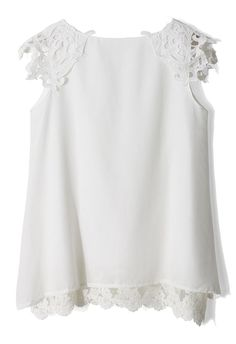 White Lace Crochet Shoulder Top