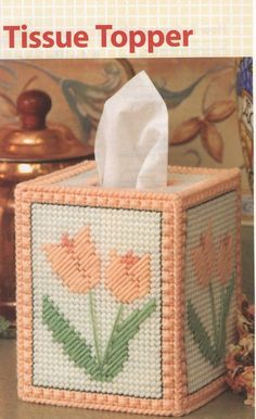 Your place to buy and sell all things handmade - Plastic Canvas Pattern Tulip Tissue Topper by NanaLetha on Etsy - Plastic Canvas Box Patterns, Plastic Canvas Coasters, Plastic Canvas Stitches, Plastic Canvas Tissue Boxes, Plastic Canvas Crafts, Plastic Craft, Hobbies And Crafts, Crafts To Make, Canvas Designs