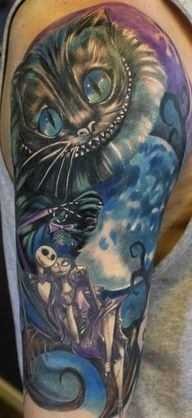 This is the most perfect way of adding in jack and sally onto my leg sleeve <3 except my Cheshire will have Hatter's hat on and it'll be his whole body and smaller than that