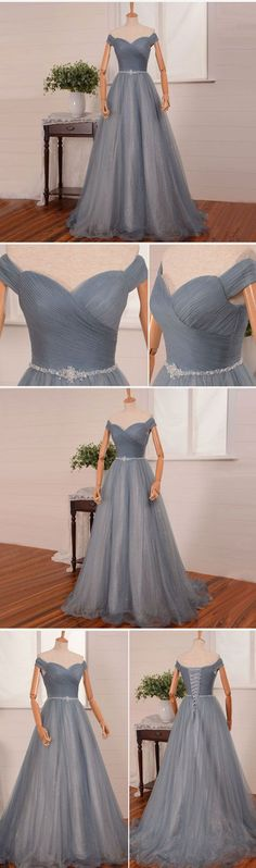 simple gray tulle long tulle prom dress, gray evening dress, gray bridesmaid dress