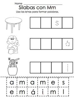 Letra M Silabas ma, me, mi, mo, mu Learning Spanish For Kids, Teaching Spanish, Kids Learning, Pre K Activities, Educational Activities, Speech Language Therapy, Speech And Language, Speech Therapy, Spanish Worksheets