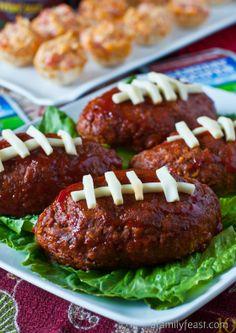 mini Football Meatloafs on beds of lettuce