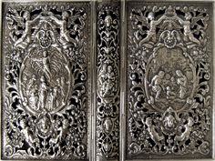 Silver book-cover with biblical images